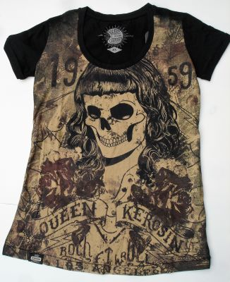 Queen Kerosin T-Shirt / Skull girl 59 - black