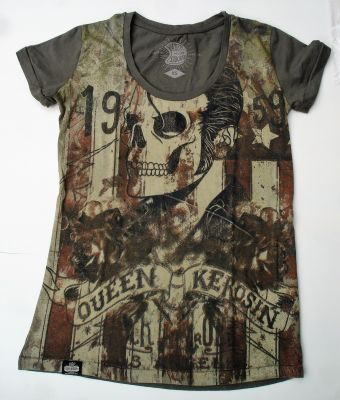 Queen Kerosin T-Shirt / Rock`n`Roll Skull - Oliv.