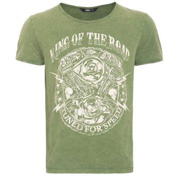 Vintage T-Shirt von King Kerosin - Motor / King of the Road - Grün
