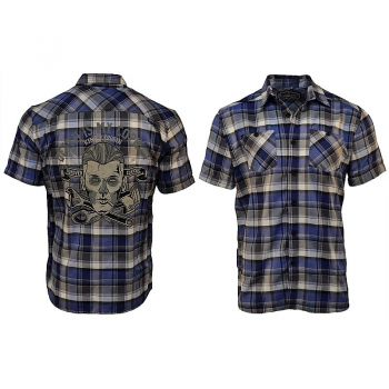 Karo Shirt von King Kerosin Limited Edition - Death is my Co Pilot / blue karo