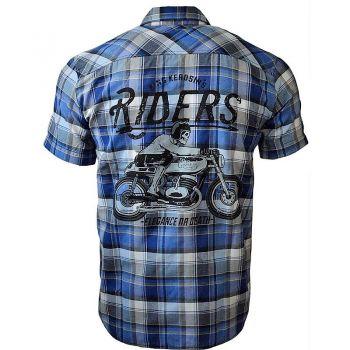 Karo Shirt von King Kerosin Limited Edition - Forever 2 Wheels / blue Karo