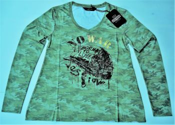 Langarm-Shirt von Queen Kerosin - Born to Love / No War - Olive
