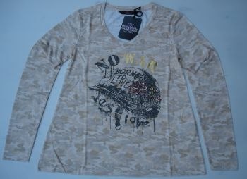 Langarm-Shirt von Queen Kerosin - Born to Love / No War - Nude