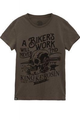 Watercolor-Shirt von King Kerosin - Biker`s Work / Dusty Olive