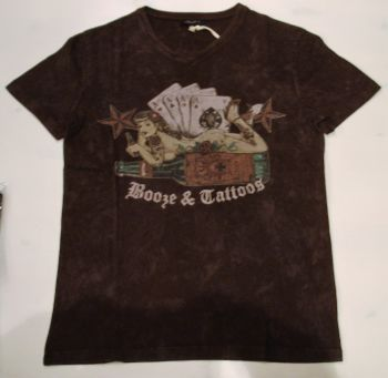 King Kerosin V-Neck T-Shirt - Booze & Tattoos / Chocolate brown