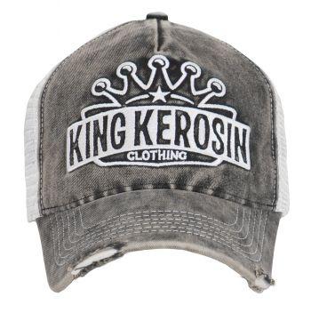 Vintage Trucker Cap - King Kerosin / Logo Krone - Schwarz used / weiss