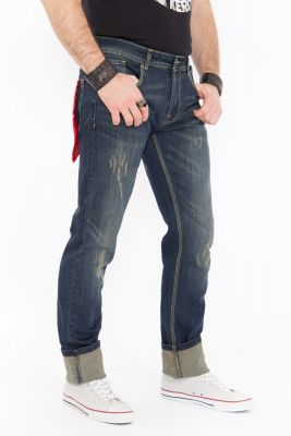 Jeans von King Kerosin - Farmer / Destroyed Cooffee Look