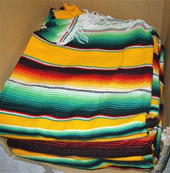 Mexican Sarape  blanket - Orange/green