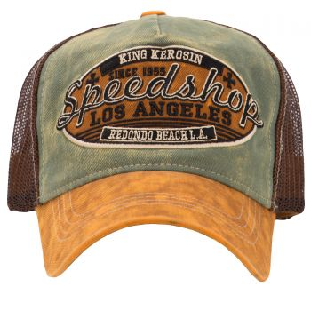 Trucker Cap from King Kerosin - Speedshop / green-brown