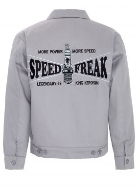 King Kerosin Gestickte Workerjacket grau - Speed Freak / Limited Edition