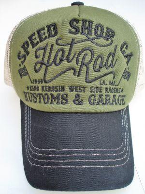 Trucker Cap von King Kerosin - Speed Shop CA. / Hot Rod , grün-schwarz