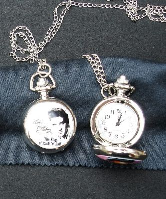 Taschen Uhr klein - Elvis The King / schwarz-weiss
