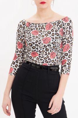 Queen Kerosin 3/4 Langarm Carmen Shirt - Alloverprint Leo & Roses