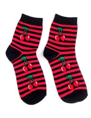 Socken - Kirschen Gestreift schwarz rot / kurz