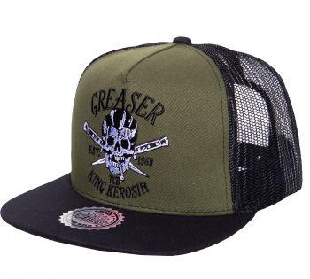 Snapback / Flat Cap von King Kerosin - Greaser / grün-schwarz