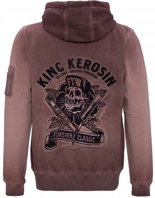 King Kerosin Bestickte Hoodie Jackets Oil Washed - Ride Hard - Live Fast / braun - Limited Edition