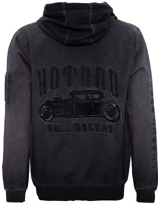 King Kerosin Bestickte Hoodie Jackets Oil Wasched - Hell Racers - Hot Rod / grau - Limited Edition