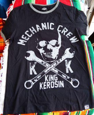 King Kerosin Contrast T-Shirt - Mechanic Crew  schwarz / grau