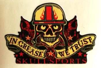 King Kerosin Sticker Skullsports in Grease we trust /klein