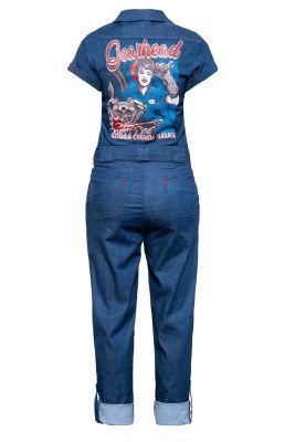 Queen Kerosin Denim Overall - Gearhead / blau