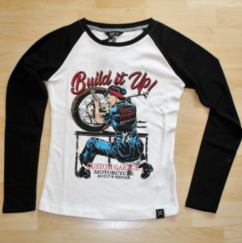 Raglan Langarm-Shirt von Queen Kerosin - Build it up / weiss-schwarz