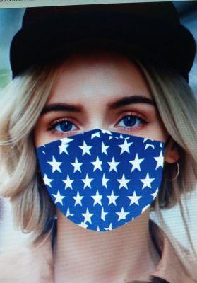 Stoff Maske - Blau / weisse Sterne mit Filter