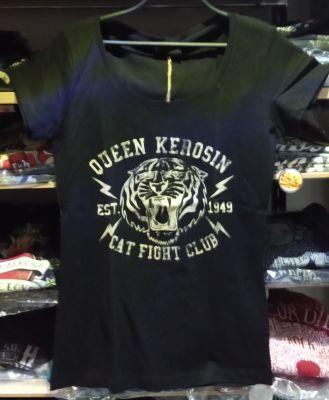 Queen Kerosin Girls T-Shirt - Cat Fight Club / black-beige