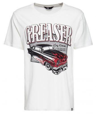King Kerosin Regular T-Shirt Offwhite / Greaser - Gasoline Junkies