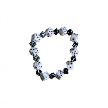 Rock Daddy Bracelets / Bracelet with Big and small  Dice - White / black