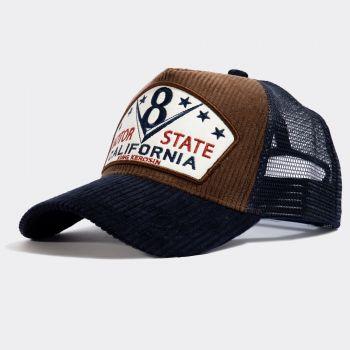 Trucker Cap mit Cord-Front von King Kerosin - Motor State California / Braun - blau