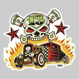 Vince Ray Skull n Rods Sticker VRS33