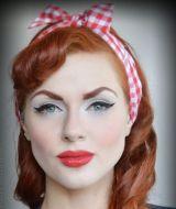 Haarband von Rumble59 - rot/weiß kariert