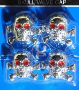 Air Valve Caps - Skull Bones Chrome