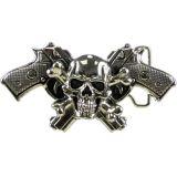 Rock Rebel Buckle BRRB-Skull & Crossbones Crossed Guns