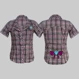King Kerosin Retro Button Bluse - Ebd / Pink Karo