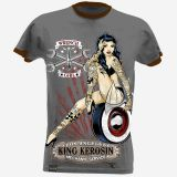 King Kerosin Slub Jersey T-Shirt Tjm4-WRG / Wrench Girl-grau