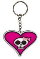 KEYCHAIN   Kc -Heart Skully Girl