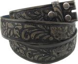 Ledergürtel bt-Black Leather Flower Embossed Belt