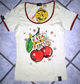 Queen Kerosin Girls Contrast T-Shirt - Cherries / Offwhite