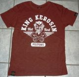 King Kerosin Slub Jersey T-Shirt - Hot Rod Pistons/braun