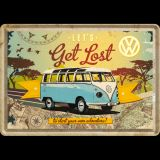 Blechpostkarte - VW Bulli / Let`s Get Lost