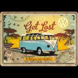 Metal postcard - VW Bulli / Let`s Get Lost