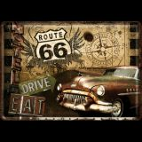 Blechpostkarte - Route 66 Road Trip