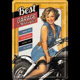 Blechpostkarte - Best Garage / Yellow