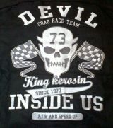 KING KEROSIN BESTICKTE RETRO Shirt / Devil Drag Race Team