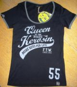 Queen Kerosin Girls Contrast T-Shirt - Queen of the Road / Black