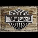 Blechpostkarte - Harley-Davidson Wood Logo