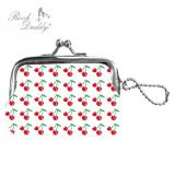 Rock Daddy - Coinpurse small with cherry design / white