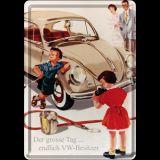 Blechpostkarte - VW Käfer der große Tag