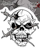 Sticker St-JA501 Barb Wire Skull